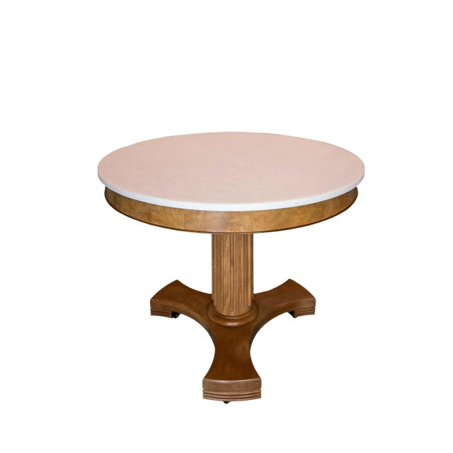 Classic Wood and Marble Top Entry Table For Sale