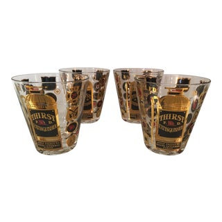 """Georges Briard Mid-Century """"Thirst Extinguisher"""" Rock Cocktail Glasses Barware - Set of 4 For Sale"""