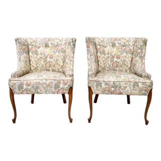 French Curved Demi-Wingback Chairs - Pair For Sale