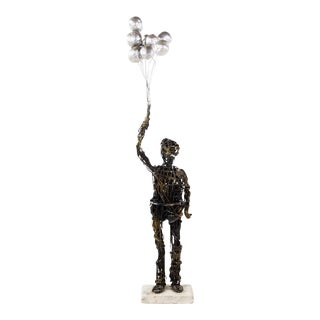 Abstract Man With Balloons Wire Sculpture