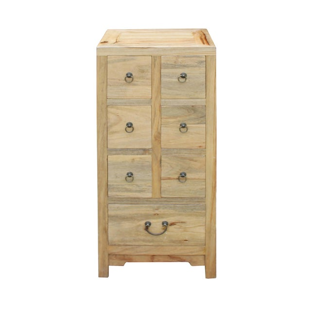 Chinese Raw Wood 7 Drawers Side Table Cabine For Sale - Image 4 of 9