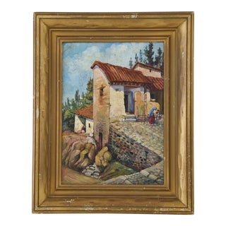 Early 1900s Italian Mediterranean Village Oil Painting For Sale