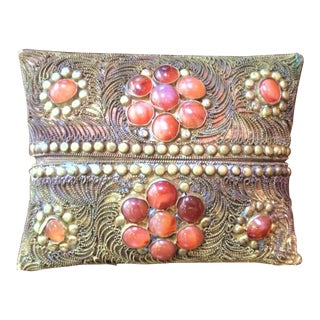 Vintage Box With Semi-Precious Stones and Filigree For Sale