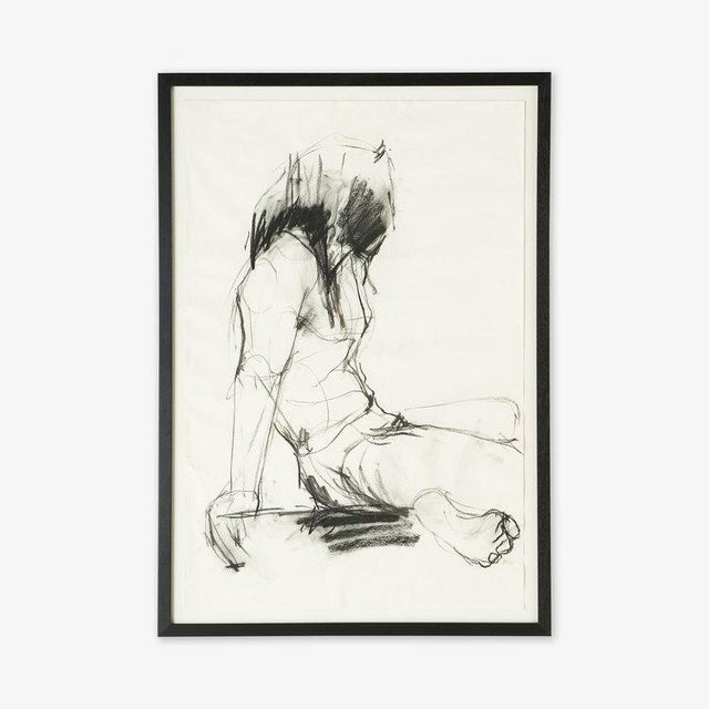 """A large figural sketch, sourced in Amsterdam. Charcoal on paper, Framed. Artist unknown. DIMENSIONS: 29""""W x 42""""H x 1""""D..."""