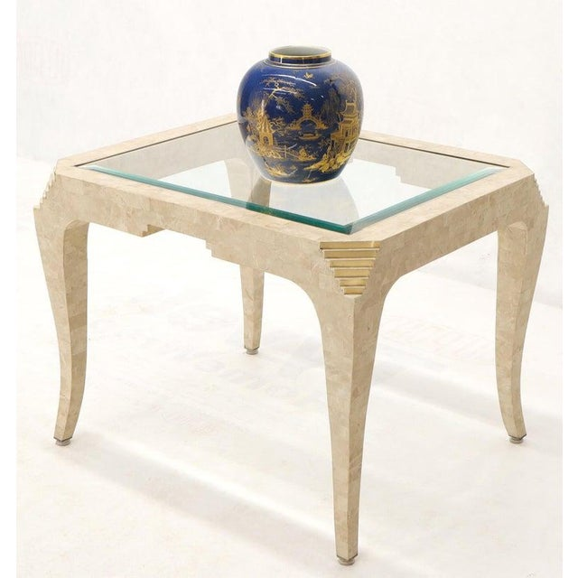 Tessellated Stone Brass Inlay Rectangular Side End Table Glass Top For Sale In New York - Image 6 of 12