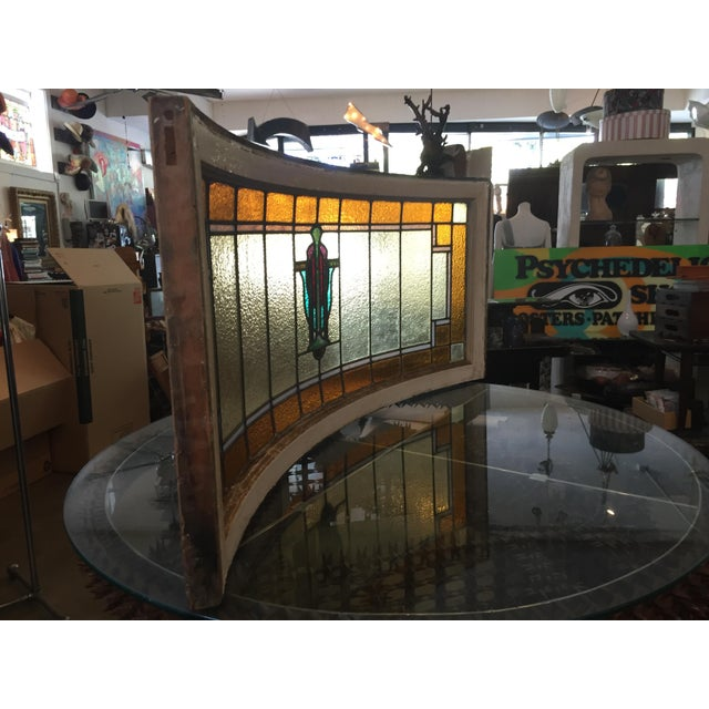 Antique Mission Design Curved Stained Glass Window For Sale - Image 9 of 11