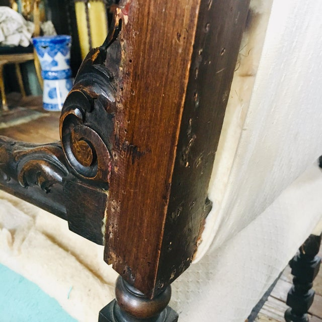 White 17th Century Carved Walnut Renaissance Chair For Sale - Image 8 of 12