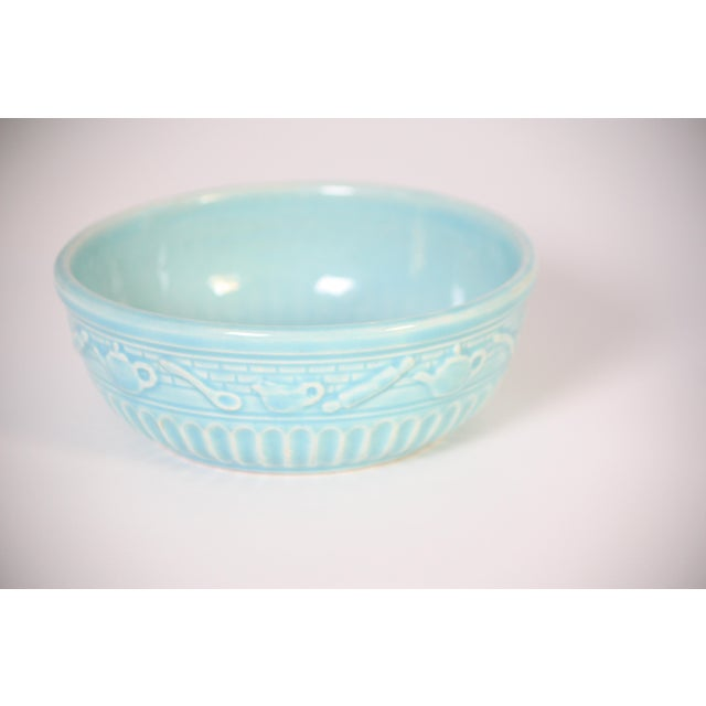 Roseville Pottery Roseville Pottery Turquoise Bowl For Sale - Image 4 of 8