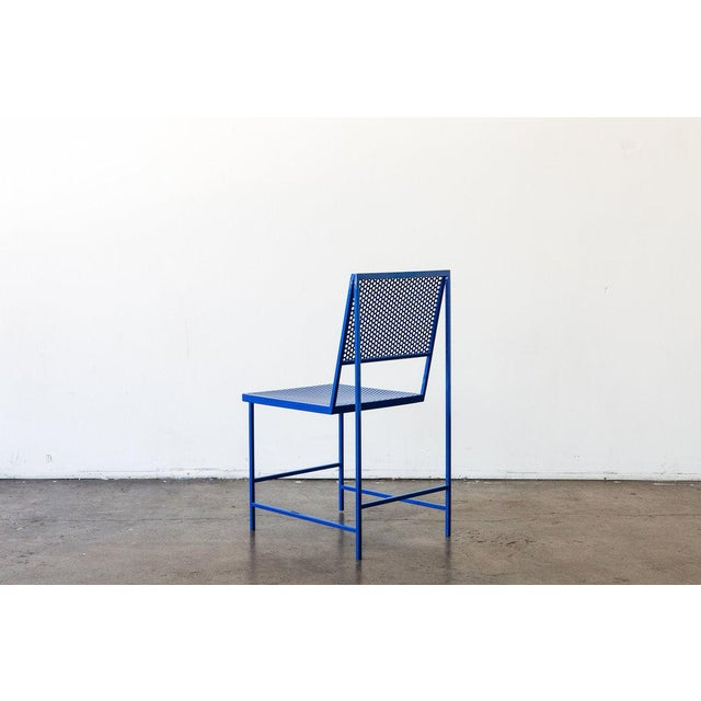 Contemporary Flux Dining Chair in True Blue For Sale - Image 3 of 6