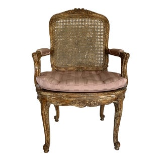 Vintage Mid Century French Caned Fauteuil For Sale