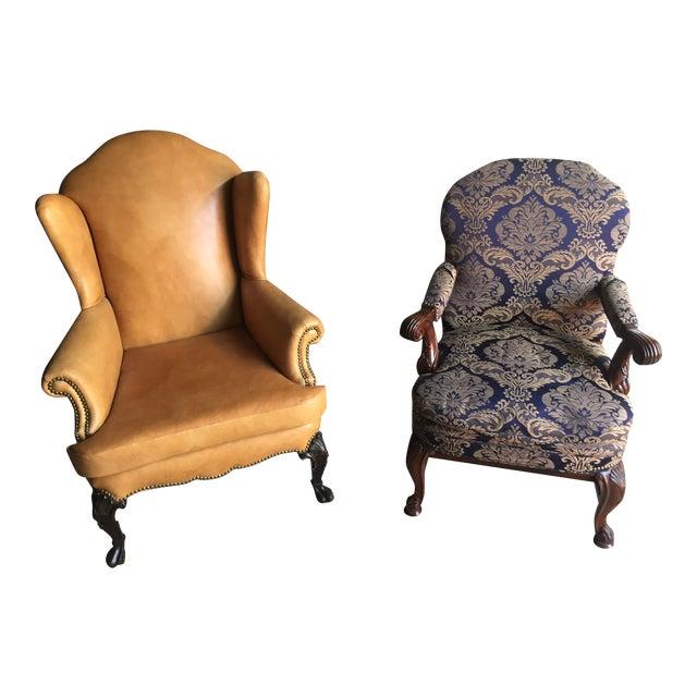 Mahogany Library & Wing Chair - Pair - Image 1 of 11