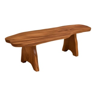 Mid-Century Modern Live Edge Monkey Pod Bench For Sale