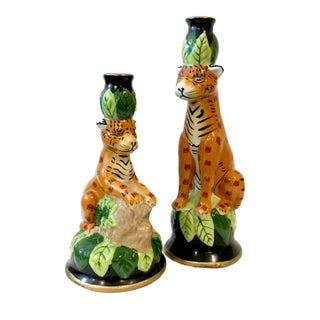 CBK Ltd. African Leopard Ceramic Candle Holders - a Pair For Sale