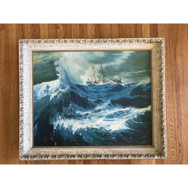 """1963 Bonnie Posselli """"Storm Tossed"""" Nautical Oil Painting - Image 3 of 8"""