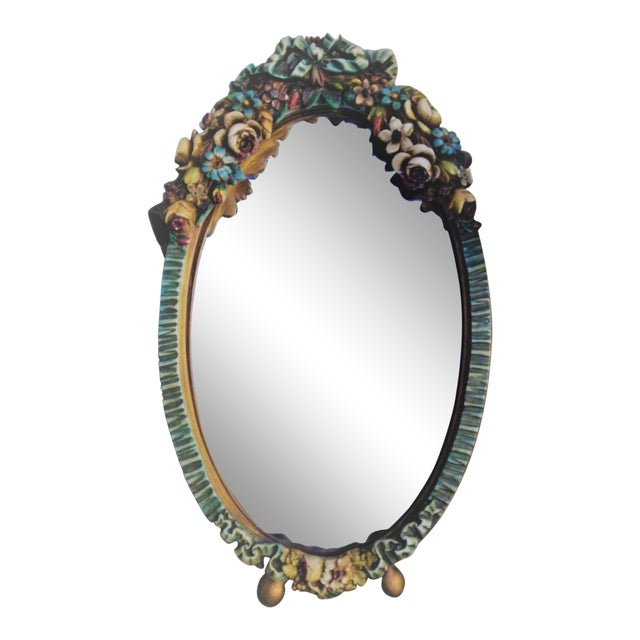 Barbola Flower Mirror For Sale