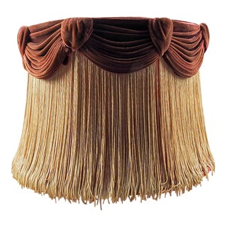 Vintage 1930's Fringe & Velvet Lamp Shade For Sale