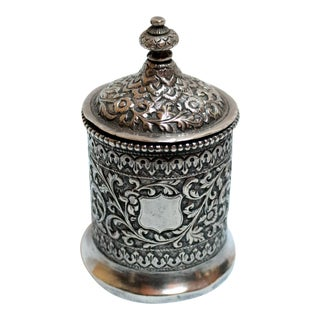 19th Century Raj Period Silver Covered Box For Sale