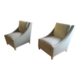 Maurice Hirsch Pair of Pure Slipper Chairs Newly Covered in Pale Blue Velvet For Sale
