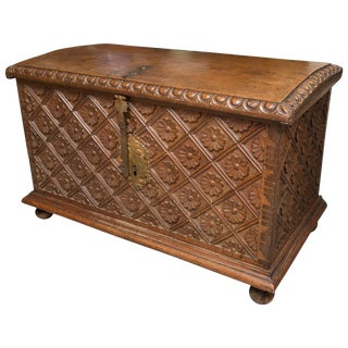 18th Century Spain Carved Walnut Blanket Chest For Sale