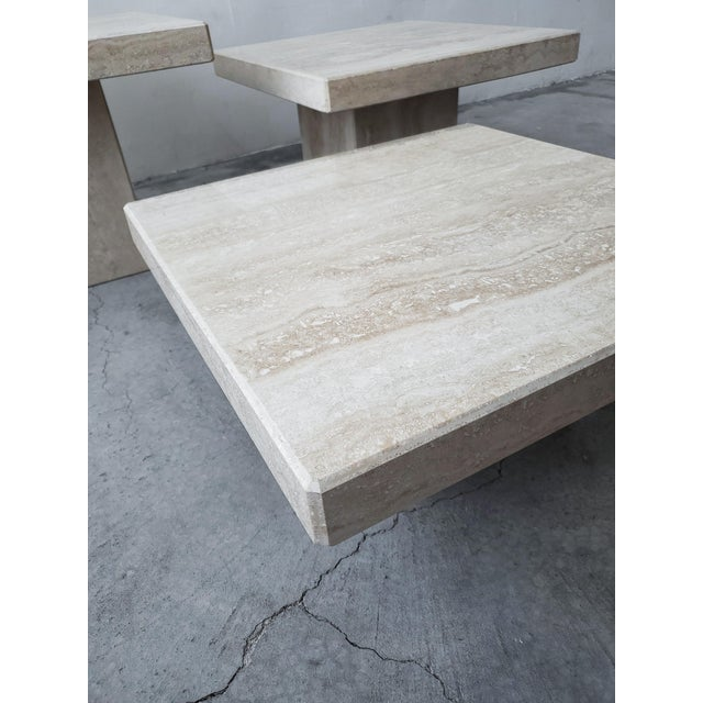 Stone Set of 3 Square Tiered Italian Travertine Bunching Tables For Sale - Image 7 of 8
