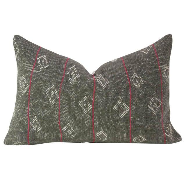 Dark Gray Bengal Kantha Lumbar Pillows - a Pair - Image 4 of 7