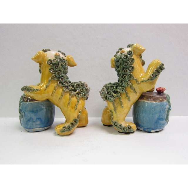 Vintage Bright Colored Foo Dogs With Drums - Pair - Image 4 of 6