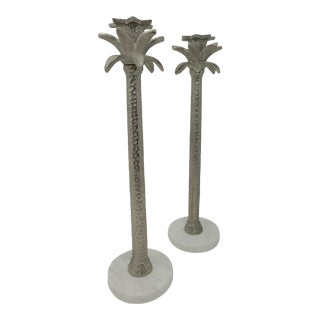 Marble and Silver Color Cast Tall Metal Palm Tree Candle Sticks a Pair For Sale