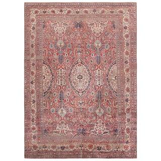 Antique Persian Silk Heriz Carpet - 10′ × 13′ For Sale