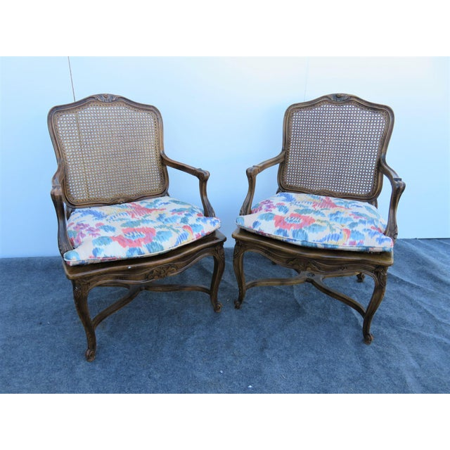 French Mid 20th Century Louis XV Oak Caned Open Arm Chairs - a Pair For Sale - Image 3 of 7