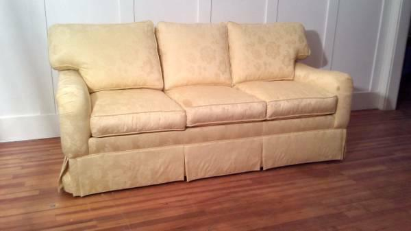 Ethan Allen Down Feather Filled Yellow Damask Sofa   Image 2 Of 9
