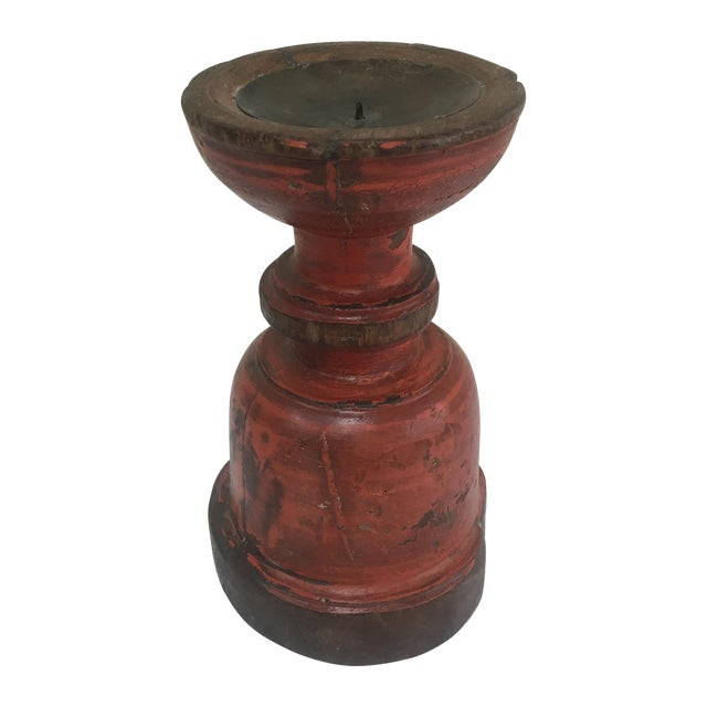 Painted Capital Candle Holder - Image 1 of 4