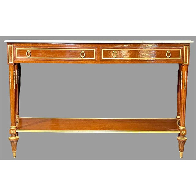 Pair of Louis XVI Style Marble Top Consoles / Sideboards in the Jansen Manner For Sale In New York - Image 6 of 13