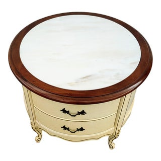 19th Century French Round Marble and Wood Side Table For Sale