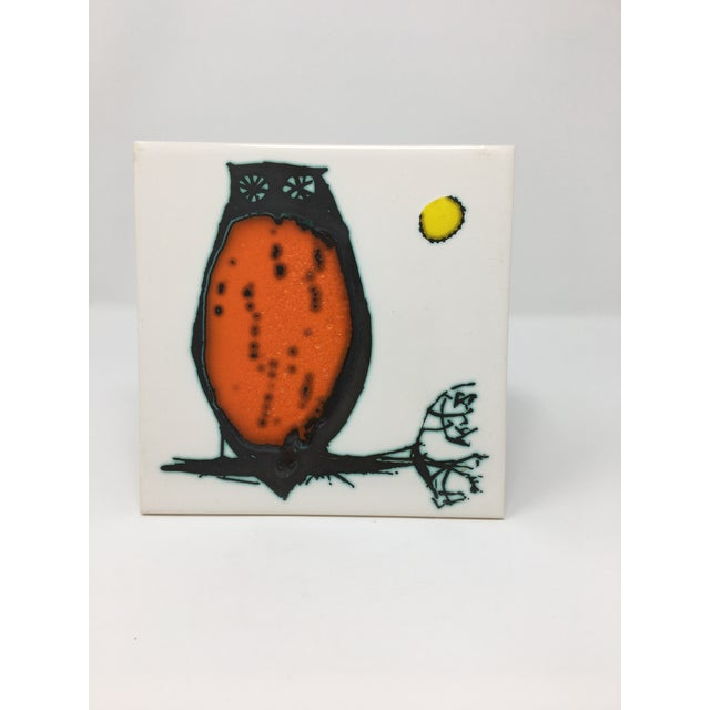 Ceramic Modern Kenneth Clark Owl Ceramic Tile For Sale - Image 7 of 7