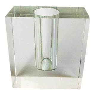 Vintage Blocky Glass Bud Vase For Sale