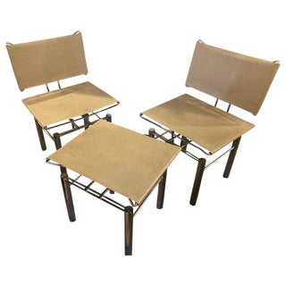 Pair of Modern Hans-Ullrich Bitsch Series 8600 Chairs and Ottoman For Sale