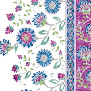 Ferran Indianas Fabric, Sample, Sapphire in French Cotton Twill For Sale