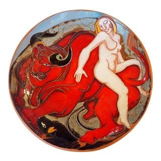 Vintage Art Deco Style Glazed Terracotta Bowl For Sale
