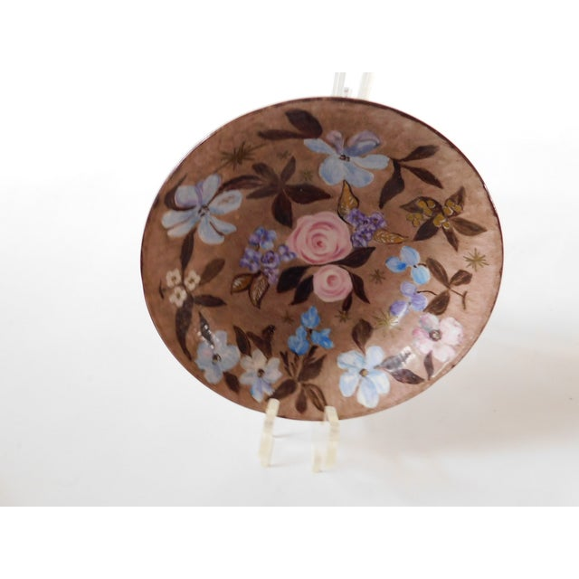 Hand-Painted Swedish Floral Porcelain Bowl For Sale - Image 9 of 13