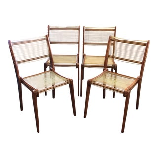 Mid-Century Modern Cord Chairs Style of Jacques Guillon - Set of 4