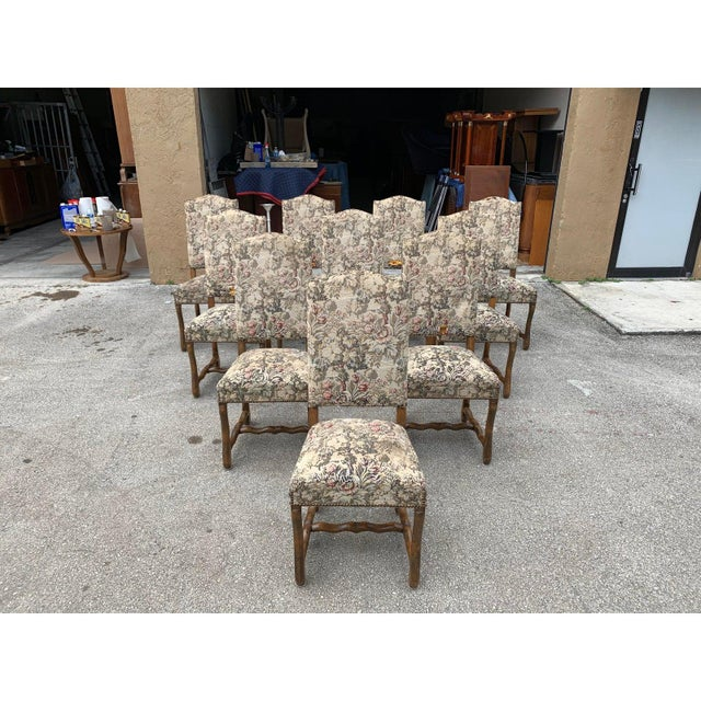Brown 1900s Vintage French Louis XIII Style Os De Mouton Dining Chairs- Set of 10 For Sale - Image 8 of 13