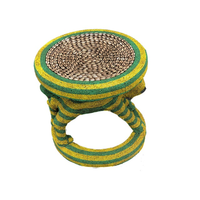 """Wood Lg African Beaded Wood Bamileke Stool /Table Cameroon 18.5"""" H For Sale - Image 7 of 11"""
