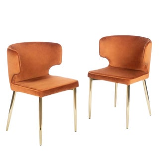 Contemporary Kayla Upholstered Dining Chairs in Amber Velvet - a Pair For Sale