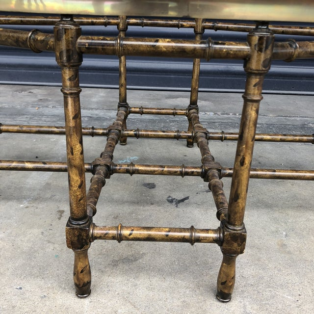 Brass Vintage Faux Bamboo Brass Tray Top Coffee Table For Sale - Image 7 of 13