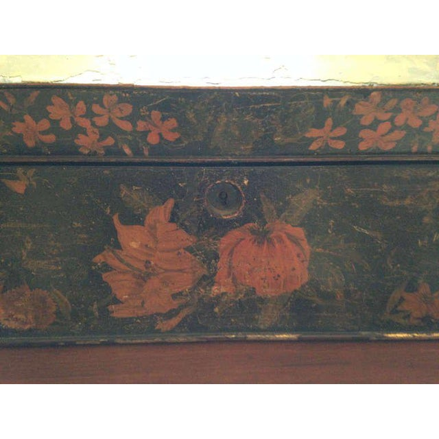 Painted English Victorian Tea Caddy with Original Fittings and Lined in Velvet For Sale - Image 4 of 8
