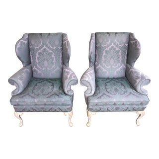 Damask Upholstered Wing Back Chairs - A Pair For Sale