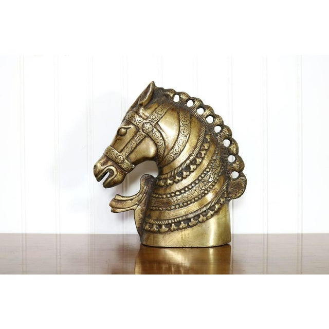 20th Century Hollywood Regency Brass Horse Head Bust For Sale - Image 4 of 8
