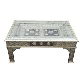 Moroccan Metal Inlaid Coffee Table, Silver Look For Sale