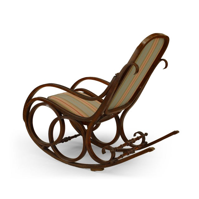 Traditional Thonet Style Bentwood Striped Rocking Chair For Sale - Image 3 of 5