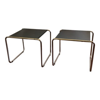 Pair of Modern Tubular Side Tables in the Bauhaus Style of Marcel Brewer For Sale